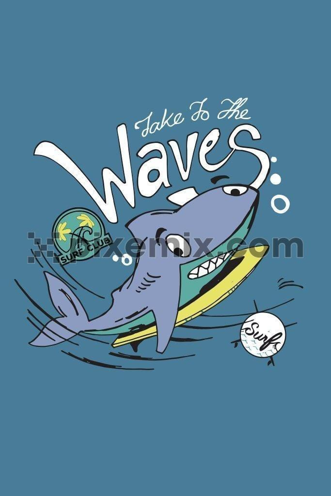 Cartoon surfer shark vector product graphic