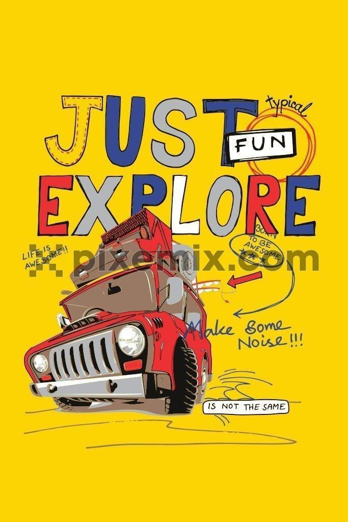 Holiday Jeep with fun typography product graphic