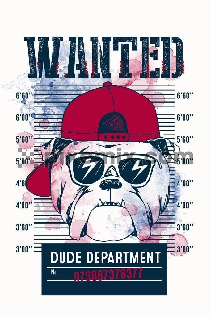 Wanted bulldog dude department product graphic