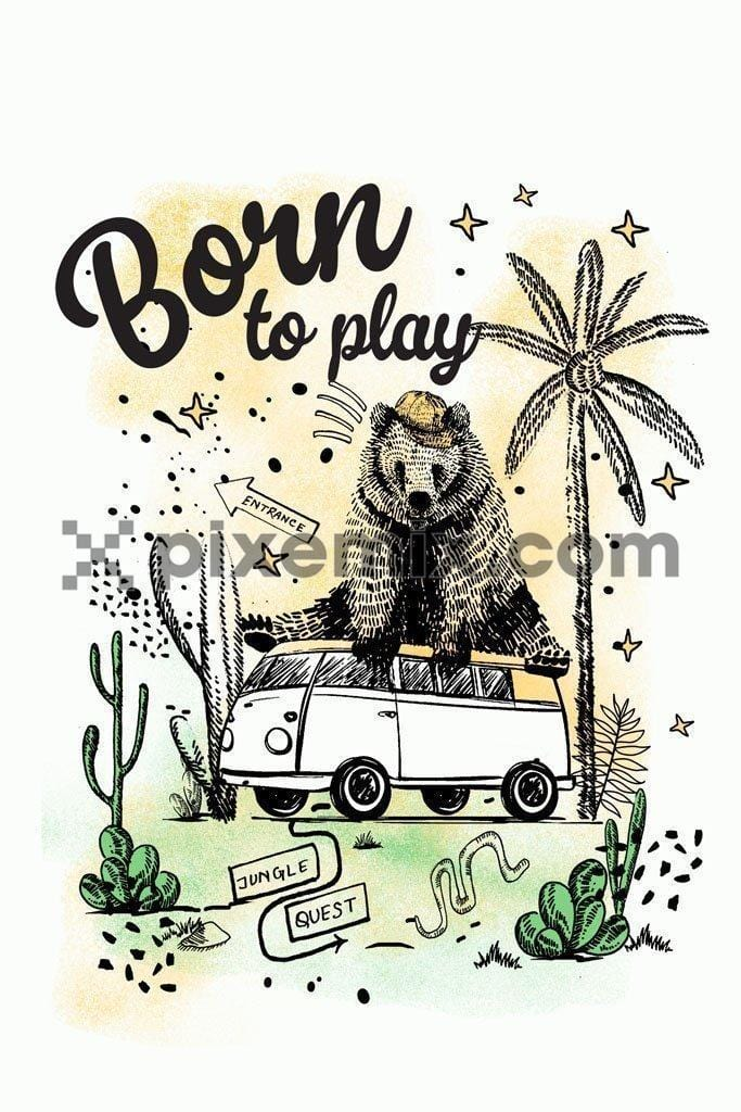Dude doodled bear sitting on van product graphic