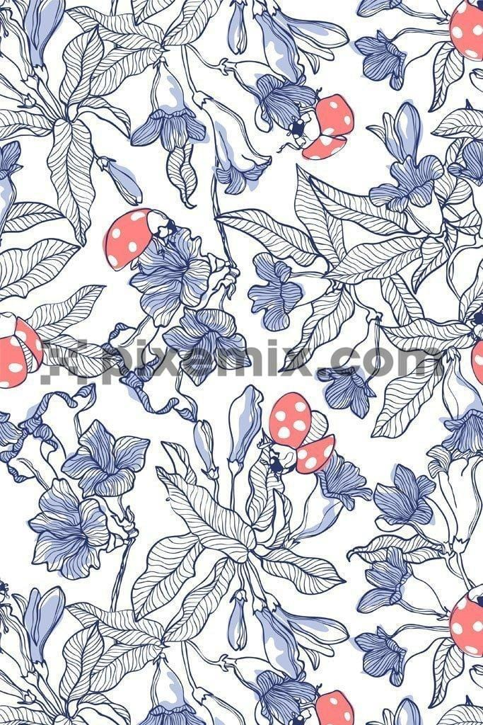 Lineart florals with ladybug product graphic pattern