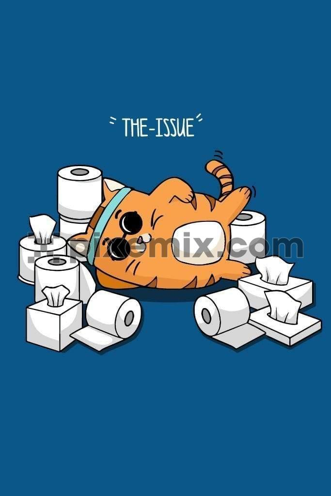 Cute cartoon kitty lying around tissue paper product graphic