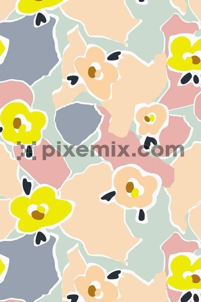 Abstract pastel floral product graphic seamless pattern