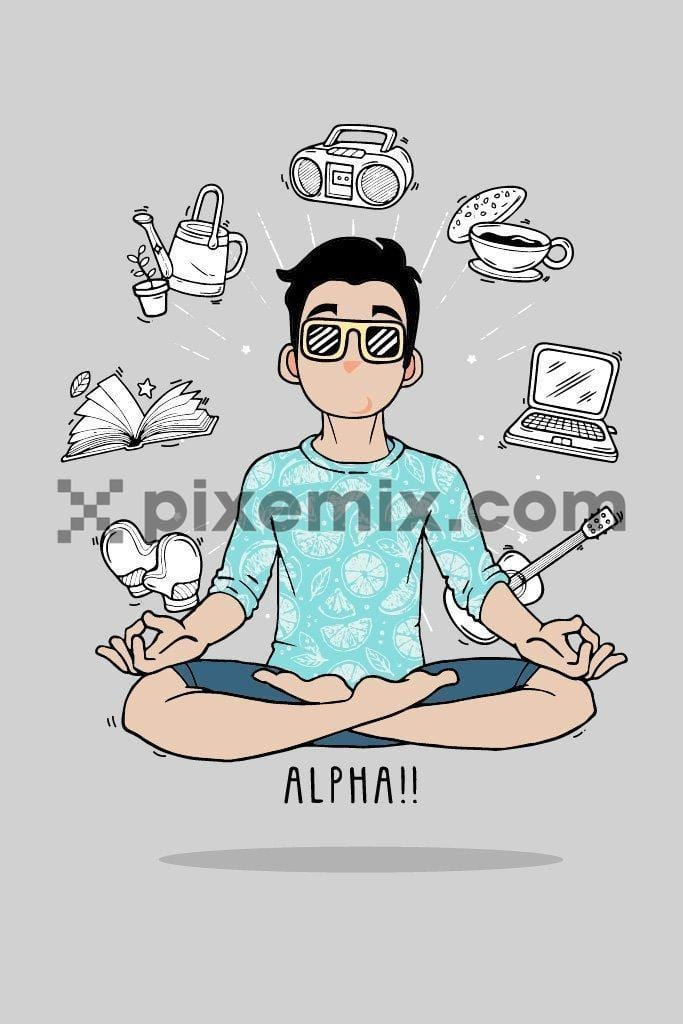 Young boy meditating around home routine activities inspired vector icons product graphic