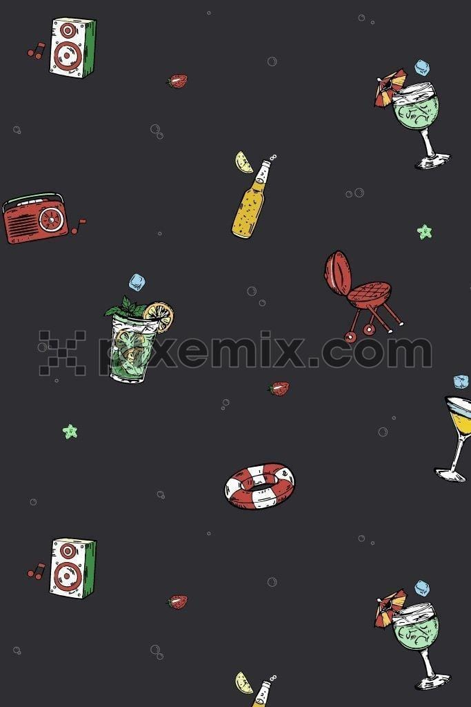 Vacation & party inspired vector icons product graphic seamless pattern