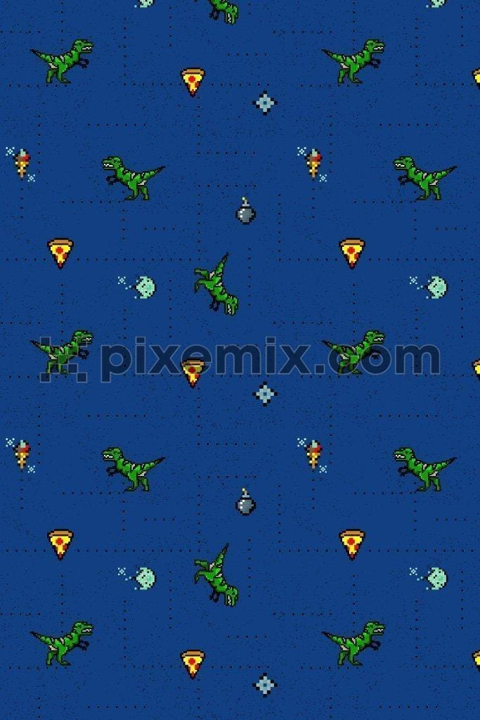Gaming inspired dinosaur & pizza icons product graphic seamless pattern