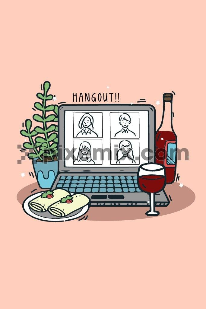 Hangout call inspired quirky vector product graphic