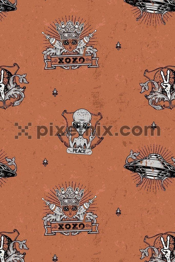 Alien quirky vector product graphic seamless pattern with distress effect