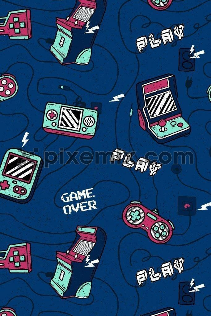 Retro gaming vector product graphic seamless pattern