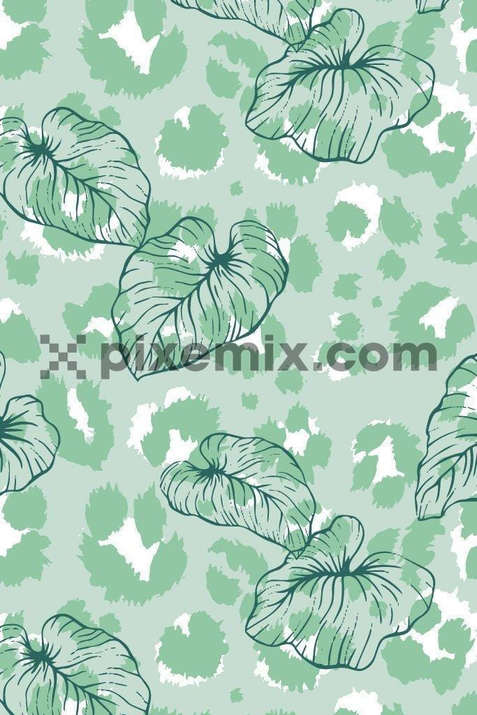 Pastel leopard camo pattern with placement leaves product graphic