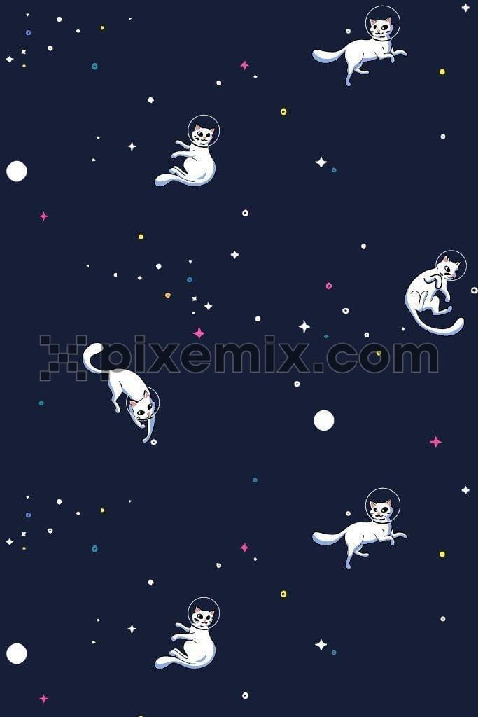 Kitty in space quirky product graphic seamless pattern