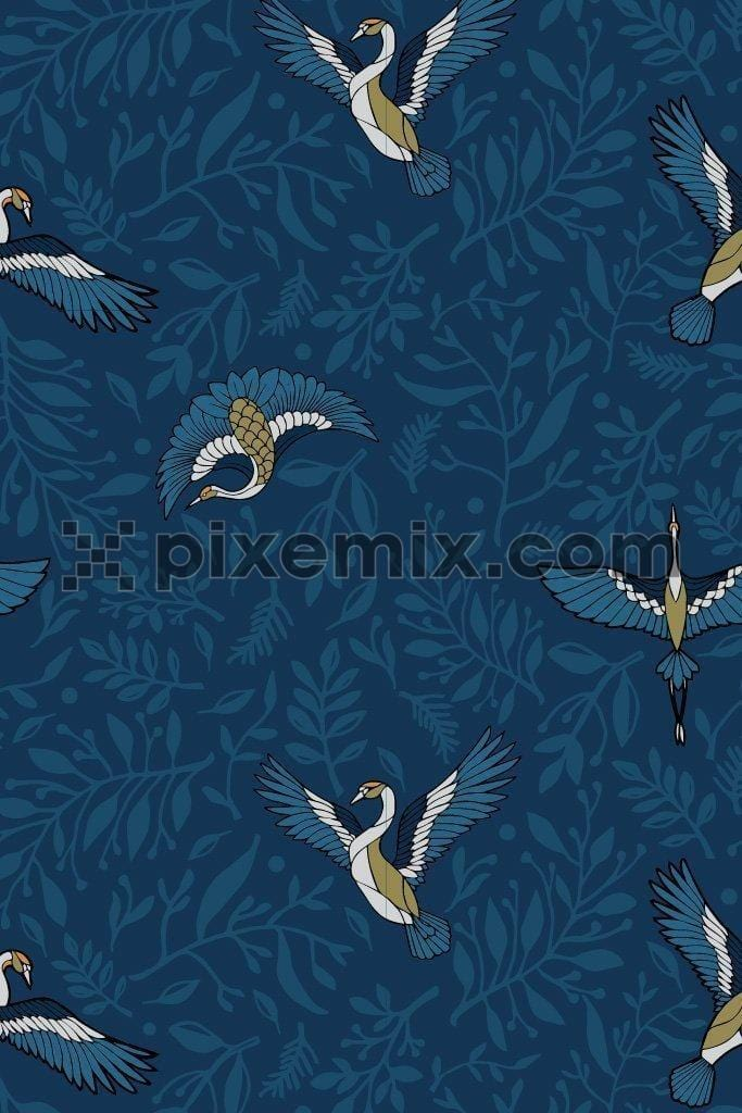 Artistic crane & leaves vector poduct graphic seamless pattern