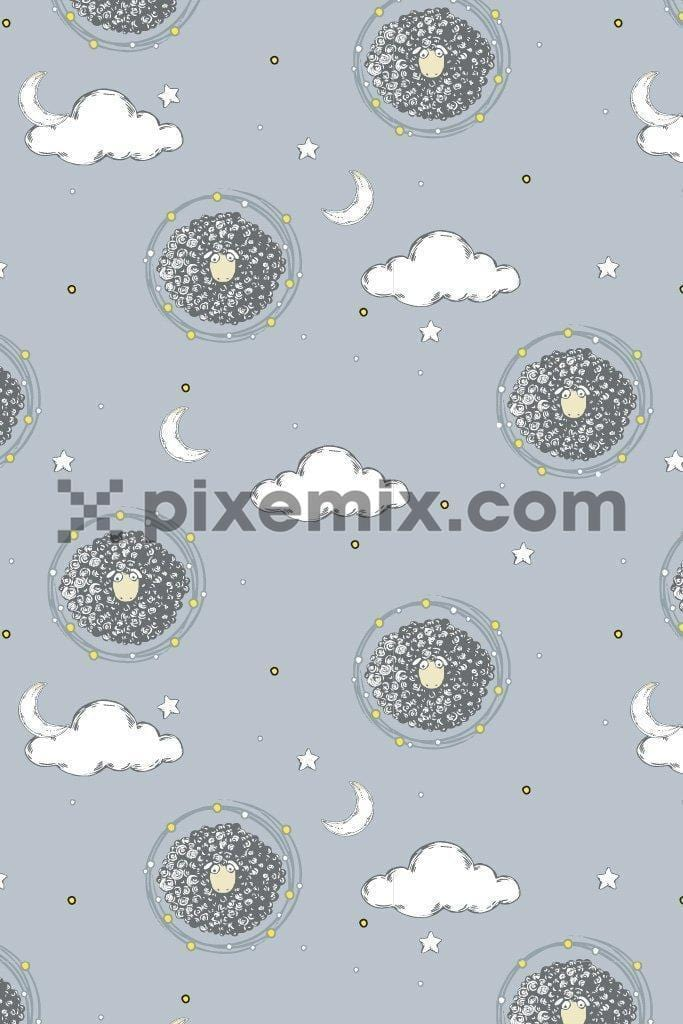 Cute sheep & sky vector poduct graphic seamless pattern