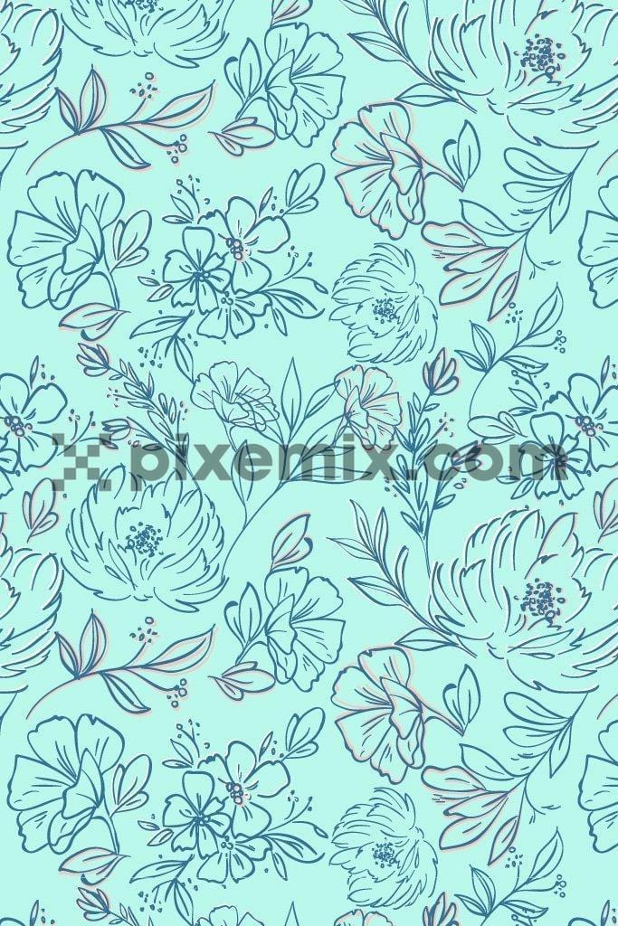 Floral doodle art vector poduct graphic seamless pattern