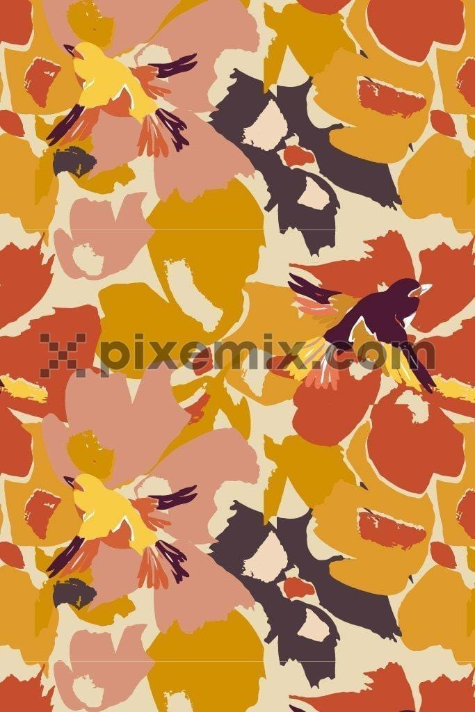 Camo floral & bird vector poduct graphic seamless pattern