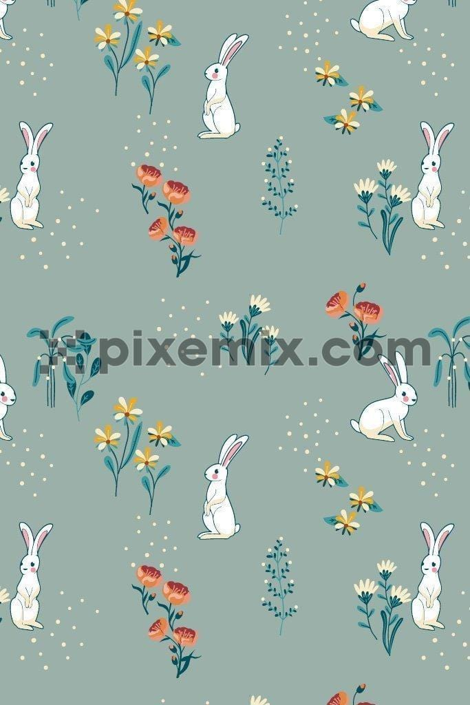 Cute bunny around florals vector poduct graphic seamless pattern
