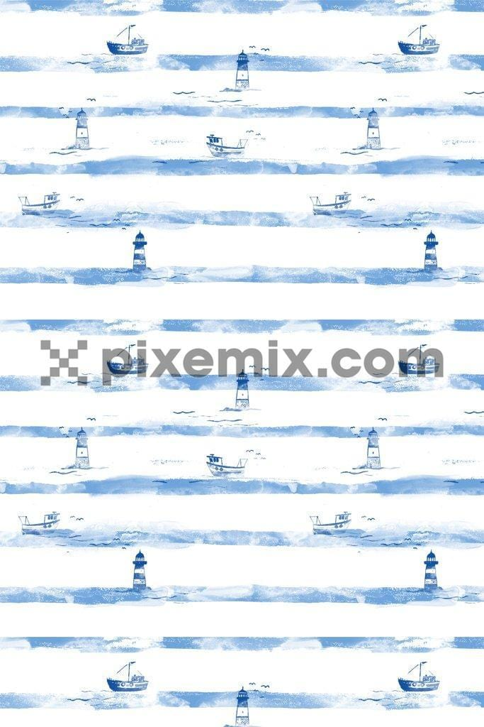 Nautical water color stripes poduct graphic seamless pattern