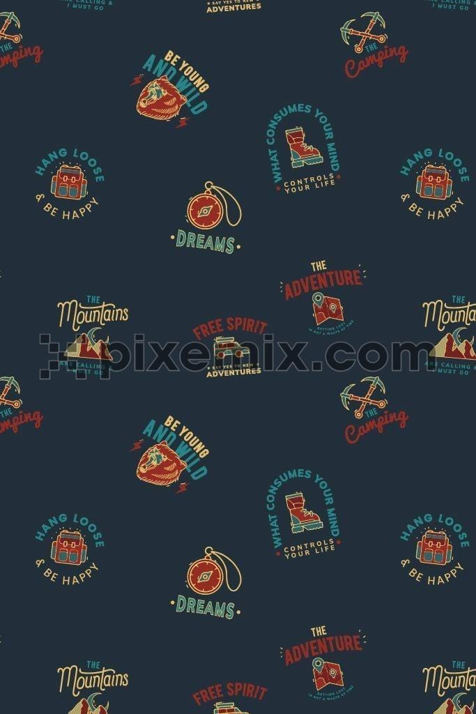 Outdoor adventure vector icons poduct graphic seamless pattern