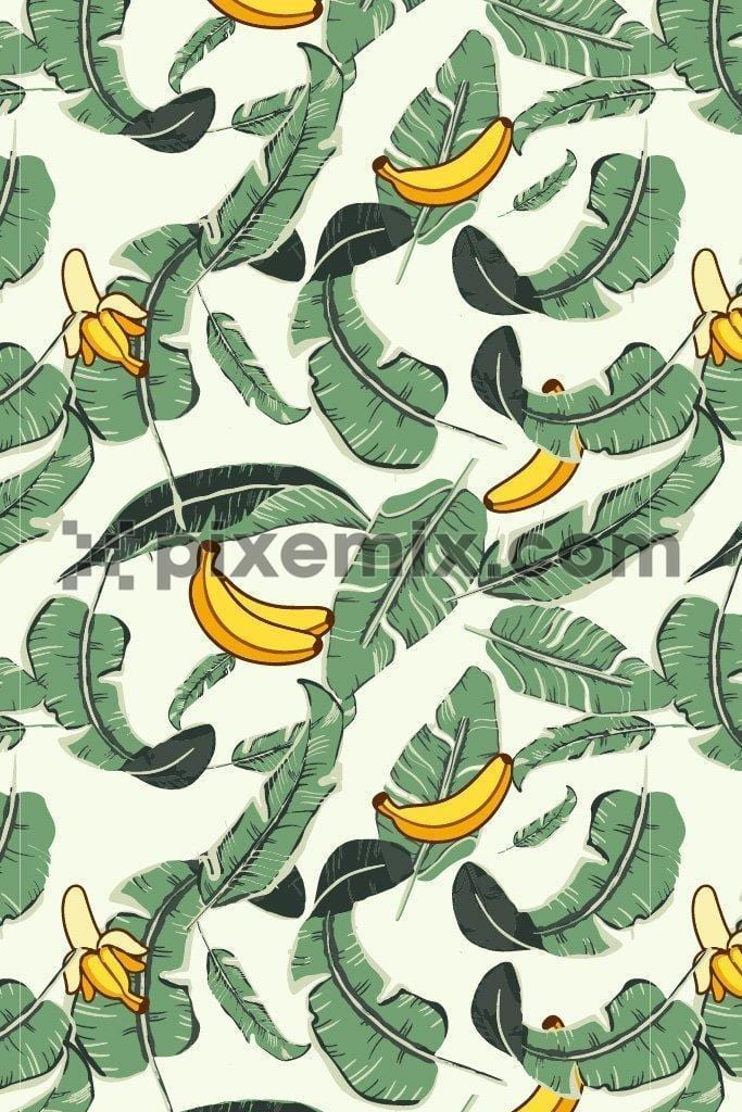 Banana & leaves vector poduct graphic seamless pattern