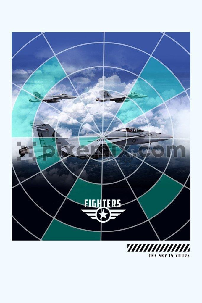 Fighet jet target indicator product graphic