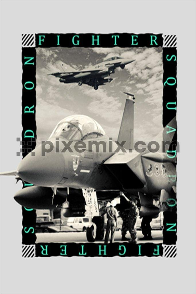 Vintage fighter jet product graphic