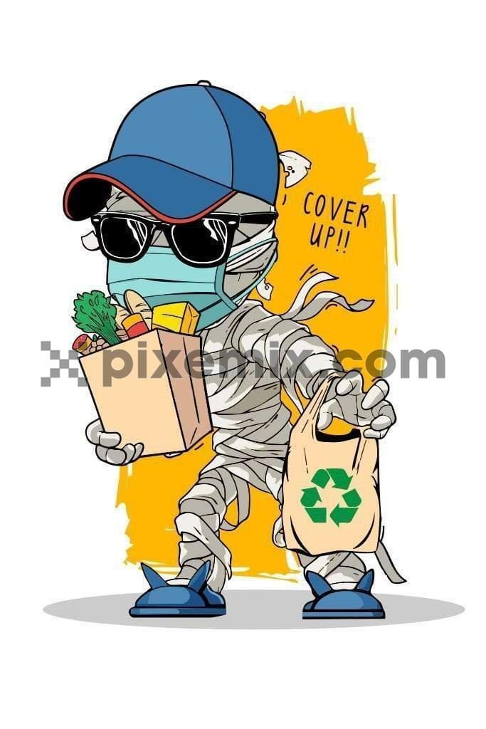 Full bandaged boy buying groceries quirky vector product graphic