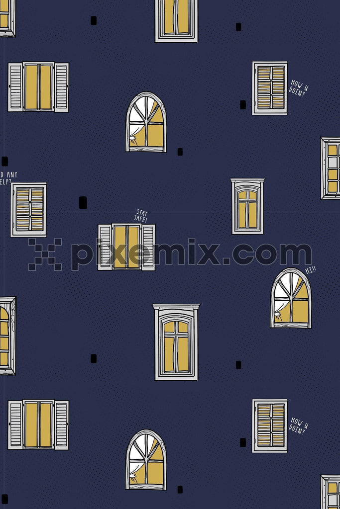 Lockdown inspired window vector product graphic seamless pattern