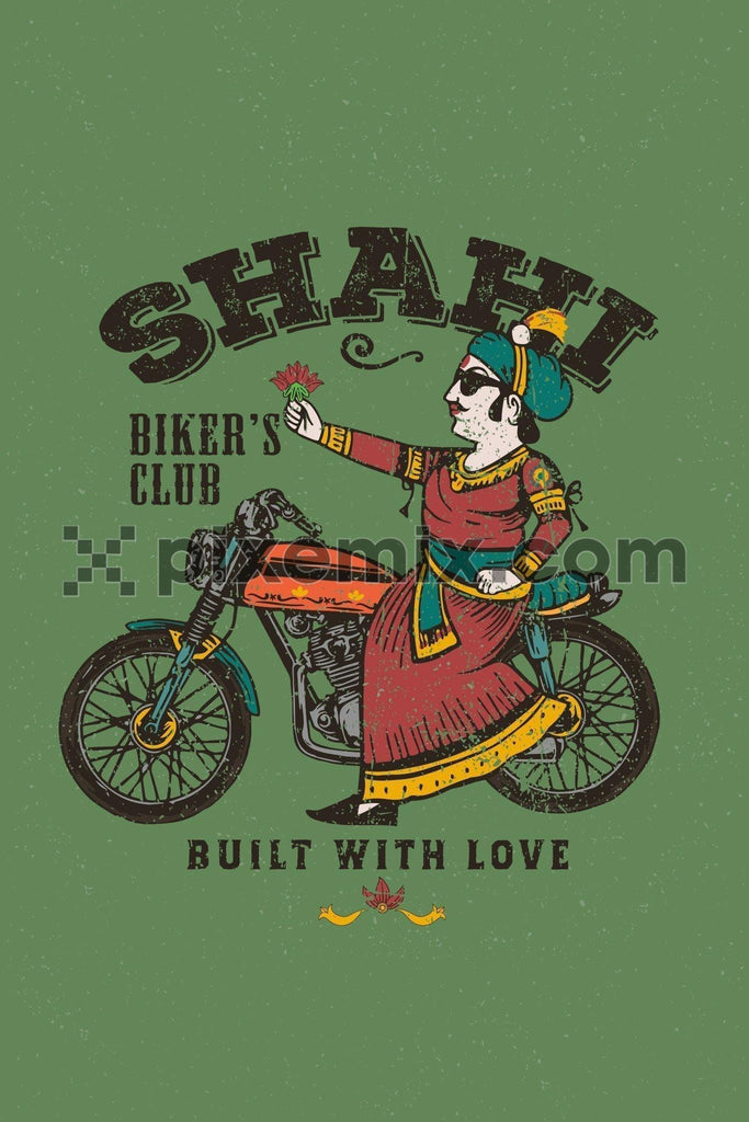 Vintage maharaja sitting on bike wih flower vector product graphic with distress effect