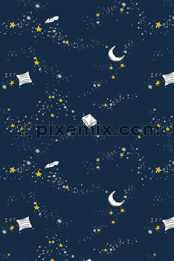 Starry night with book, moon & pillow vector poduct graphic seamless pattern
