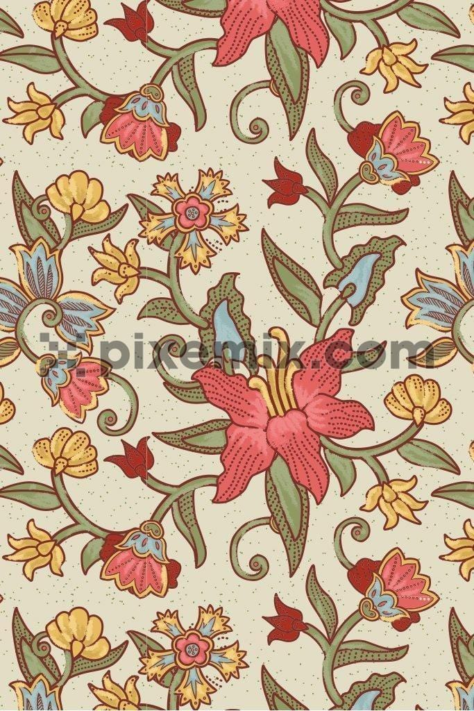 Indian craft kalamkari inspired floral & leaves seamless repeat pattern poduct graphic