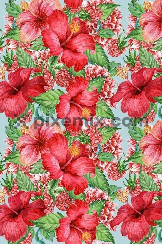 Hibiscus & raspberry poduct graphic seamless repeat pattern