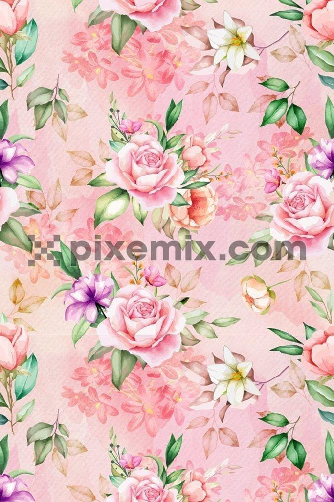 Bunch of rose & jasmine poduct graphic seamless repeat pattern