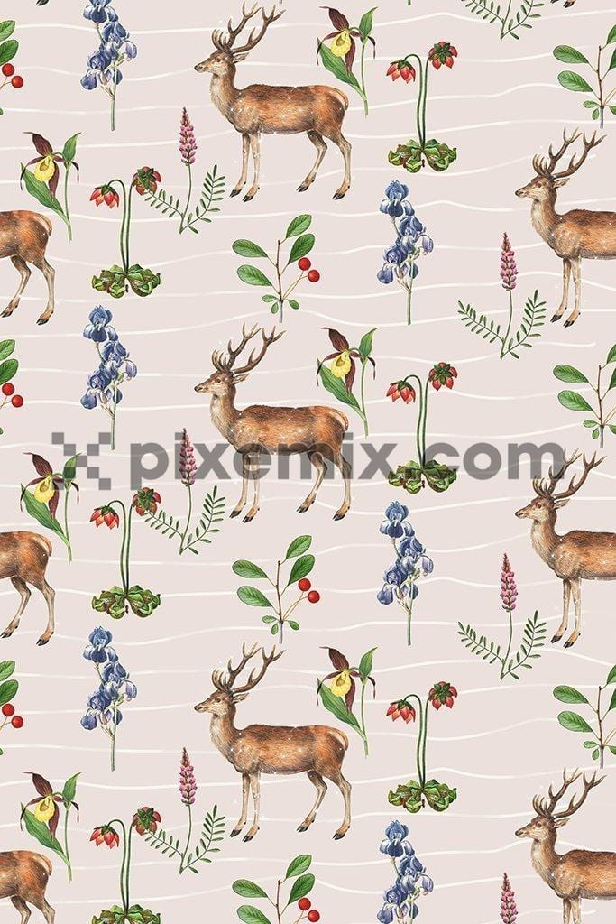 Deer & florals with background stripes poduct graphic seamless repeat pattern