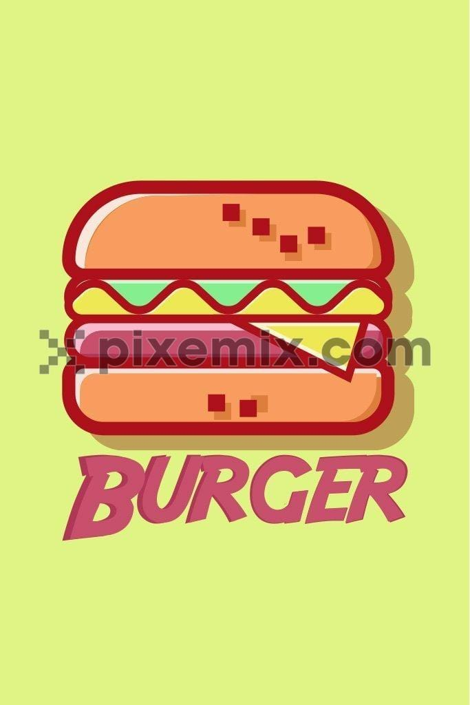 Vector burger art product graphic