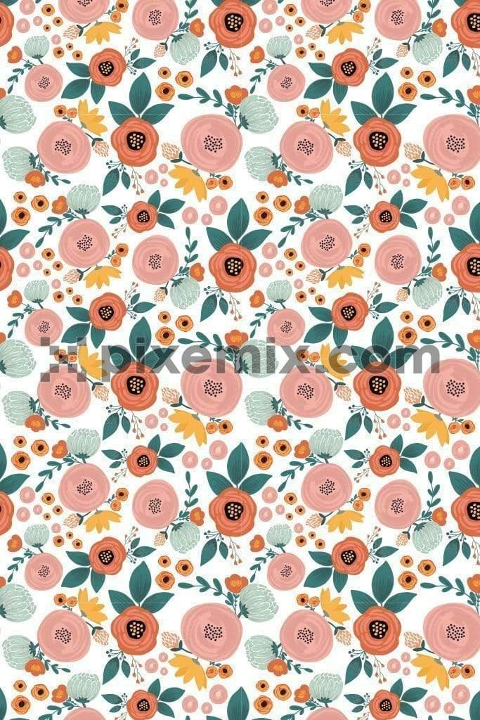 Cute bloomed roses vector product graphic with seamless repeat pattern
