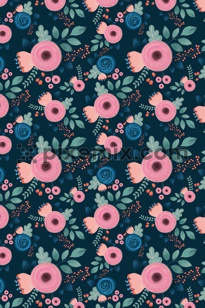 Cute bloomed florals vector product graphic with seamless repeat pattern