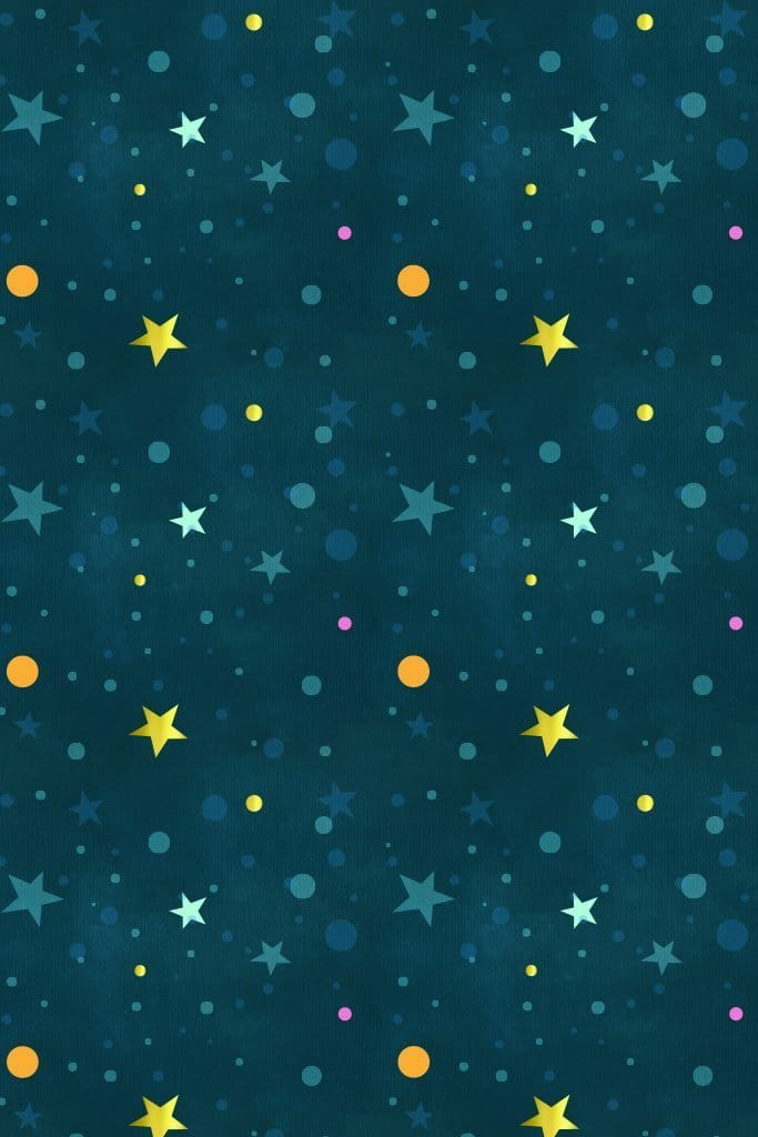Stars & polka dots product graphic with seamless repeat pattern