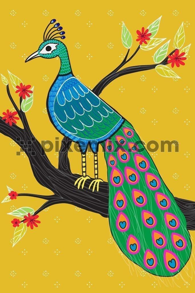 Hand illustrated peacock indian art product graphic
