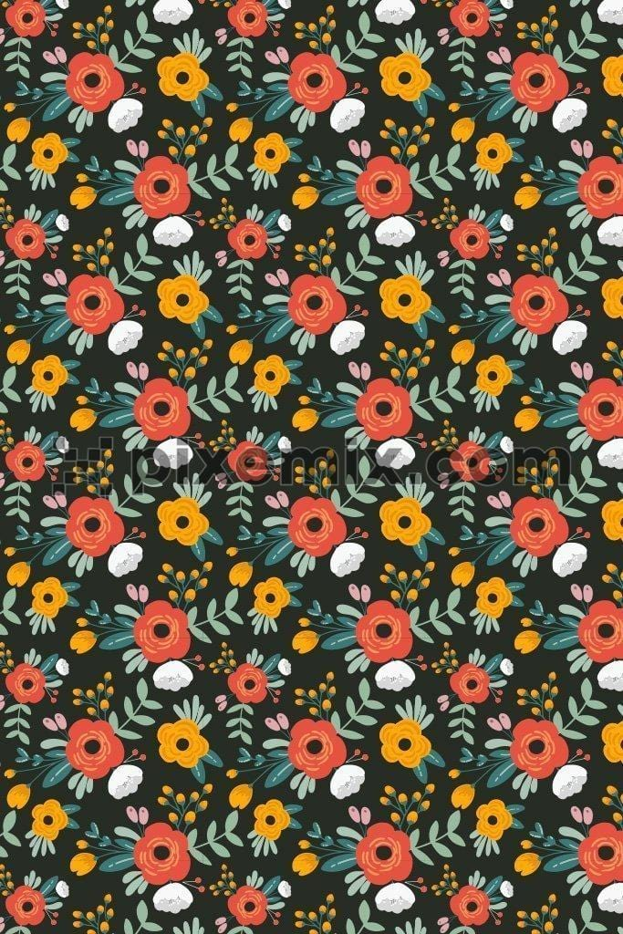Cute bunch of florals vector product graphic with seamless repeat pattern