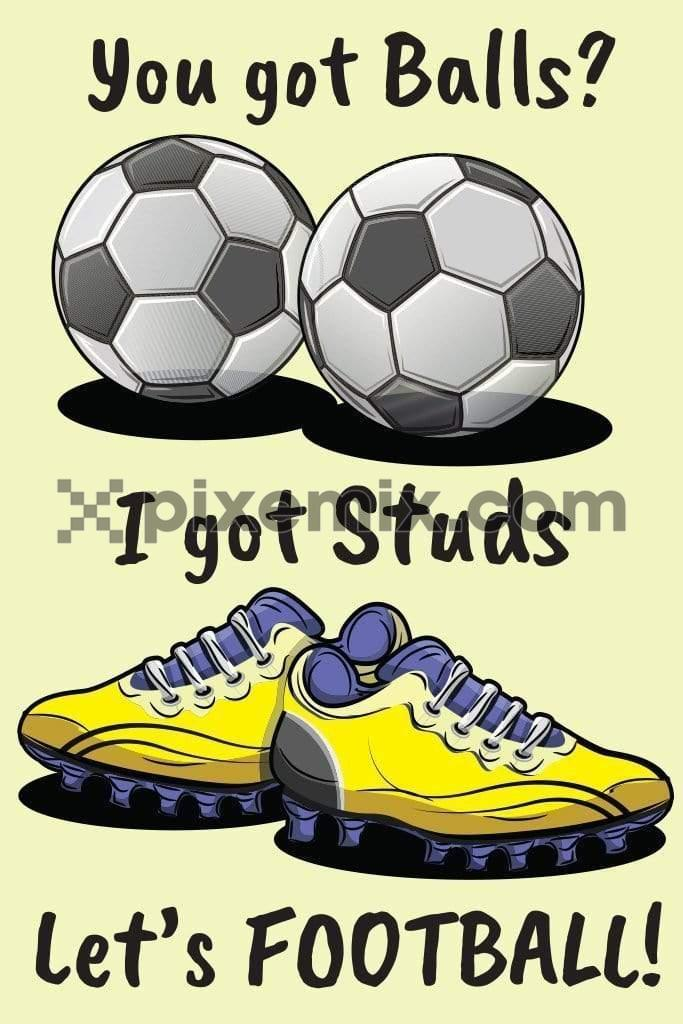 Football & stud s shoes vector product graphic with quirky typography