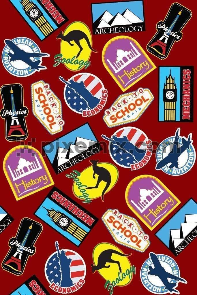 Travel inspired patches vector product graphic with seamless repeat pattern