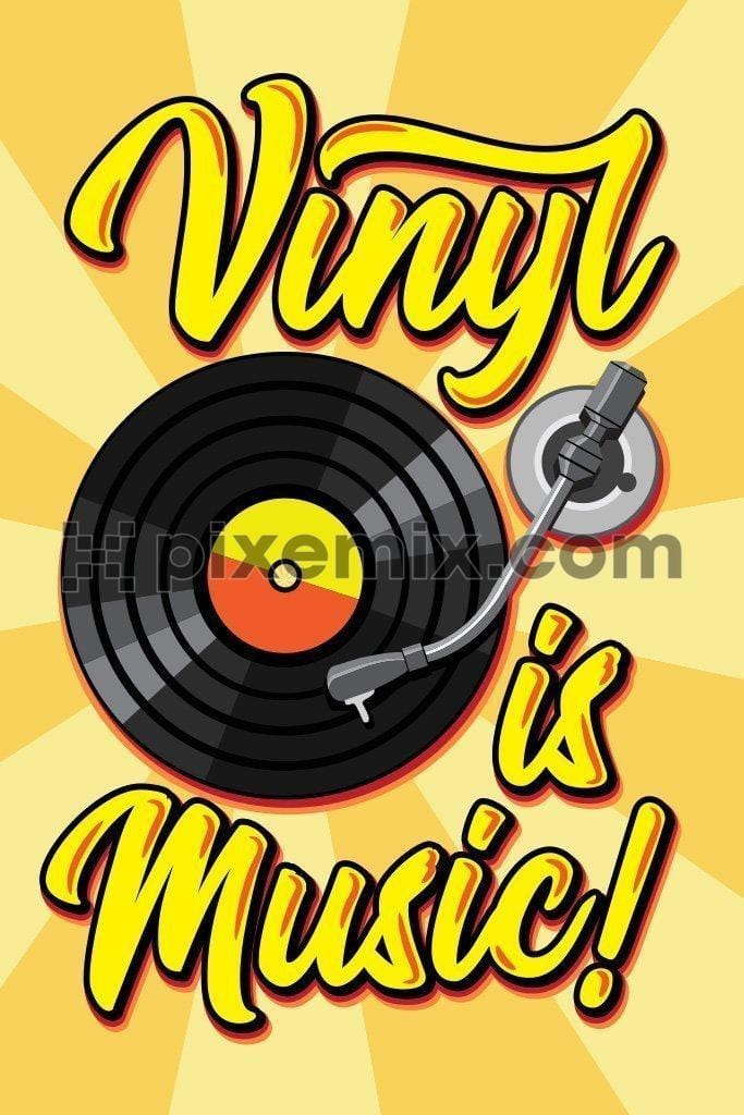 Vinyl record vector product graphic with typography