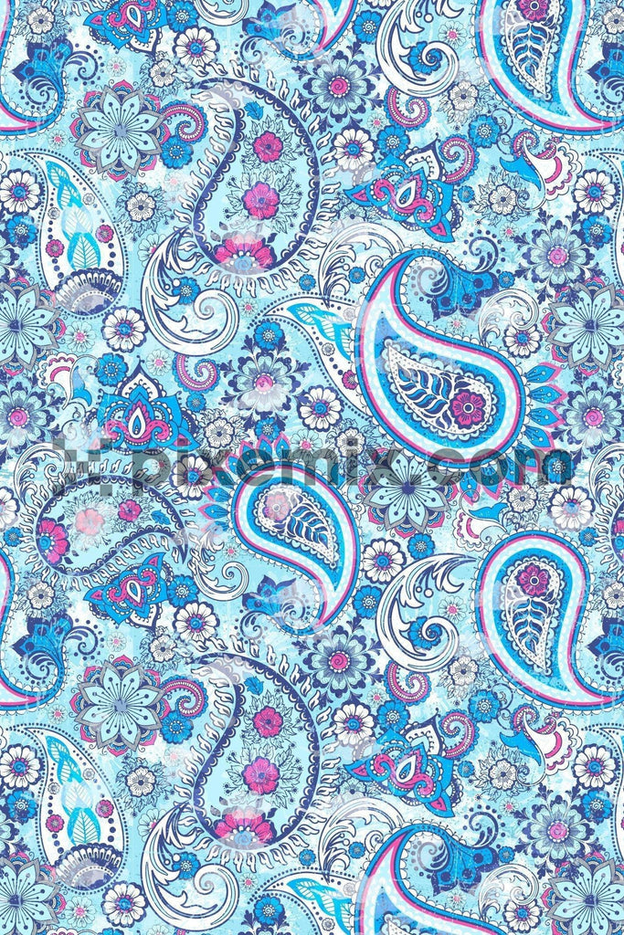 Intricate water color effect paisley & floral product graphic with seamless repeat pattern