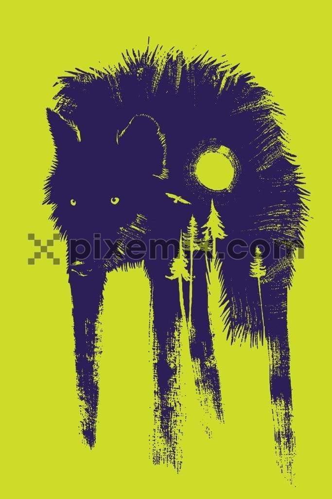 Vector wolf art with landscape double exposure product graphic with brushed effect