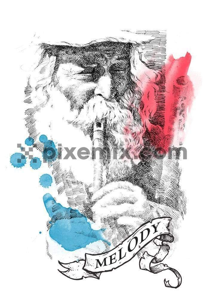 Old man playing flute illustration product graphic with splashed color highlight