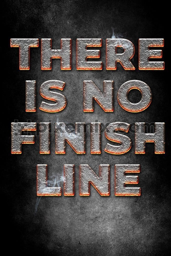 There is no finish line hot lava 3D typography product graphic