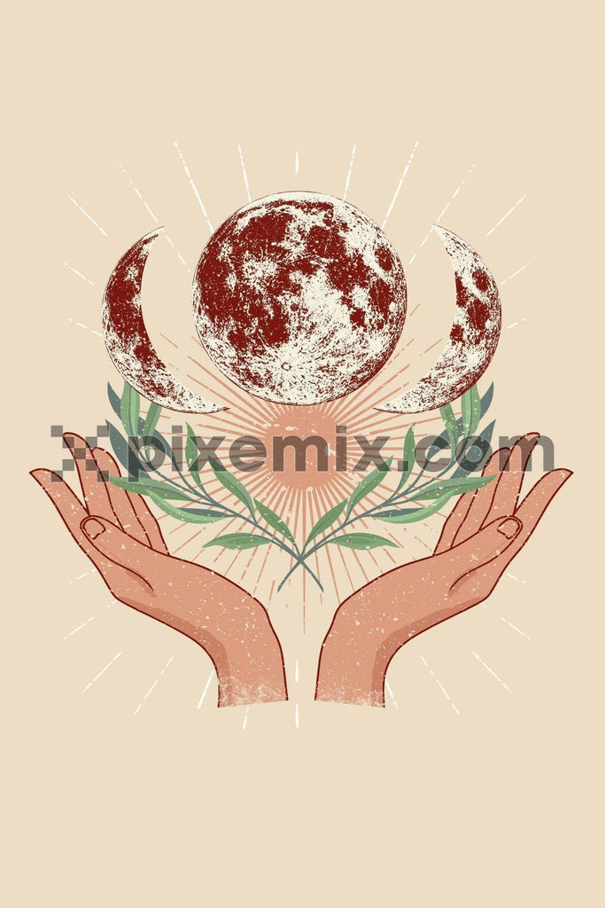 Healing hands with rays, planet & leaves vector product graphic