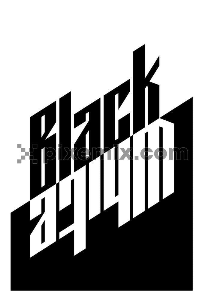 Black & white upside down typography product graphic