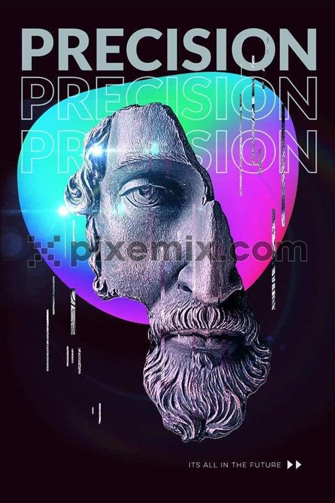 Techno inspired renaissance statue trendy photo maipulation product graphic with modern typography