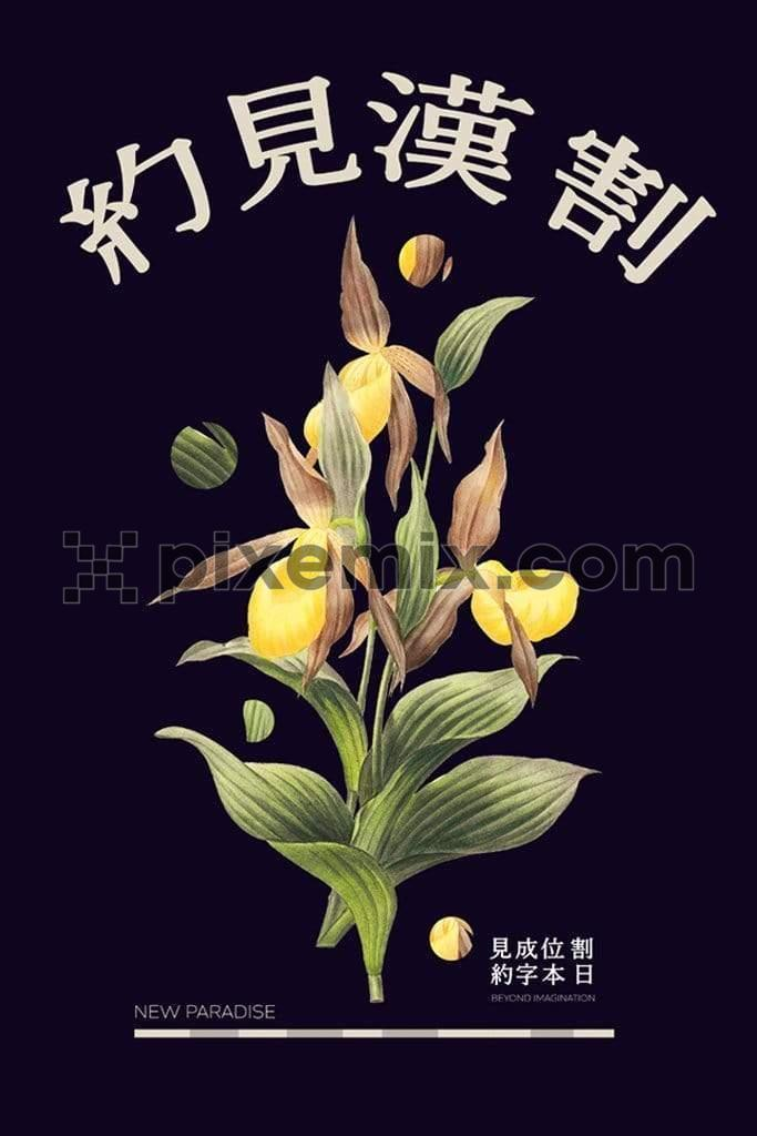 Tropical floral product graphics with trendy oriental typography